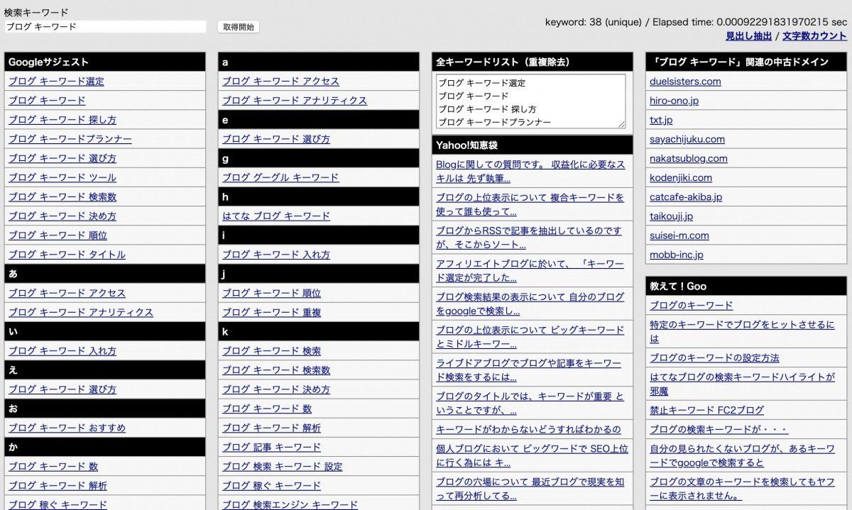 ラッコキーワード(旧:関連キーワード取得ツール(仮名・β版))