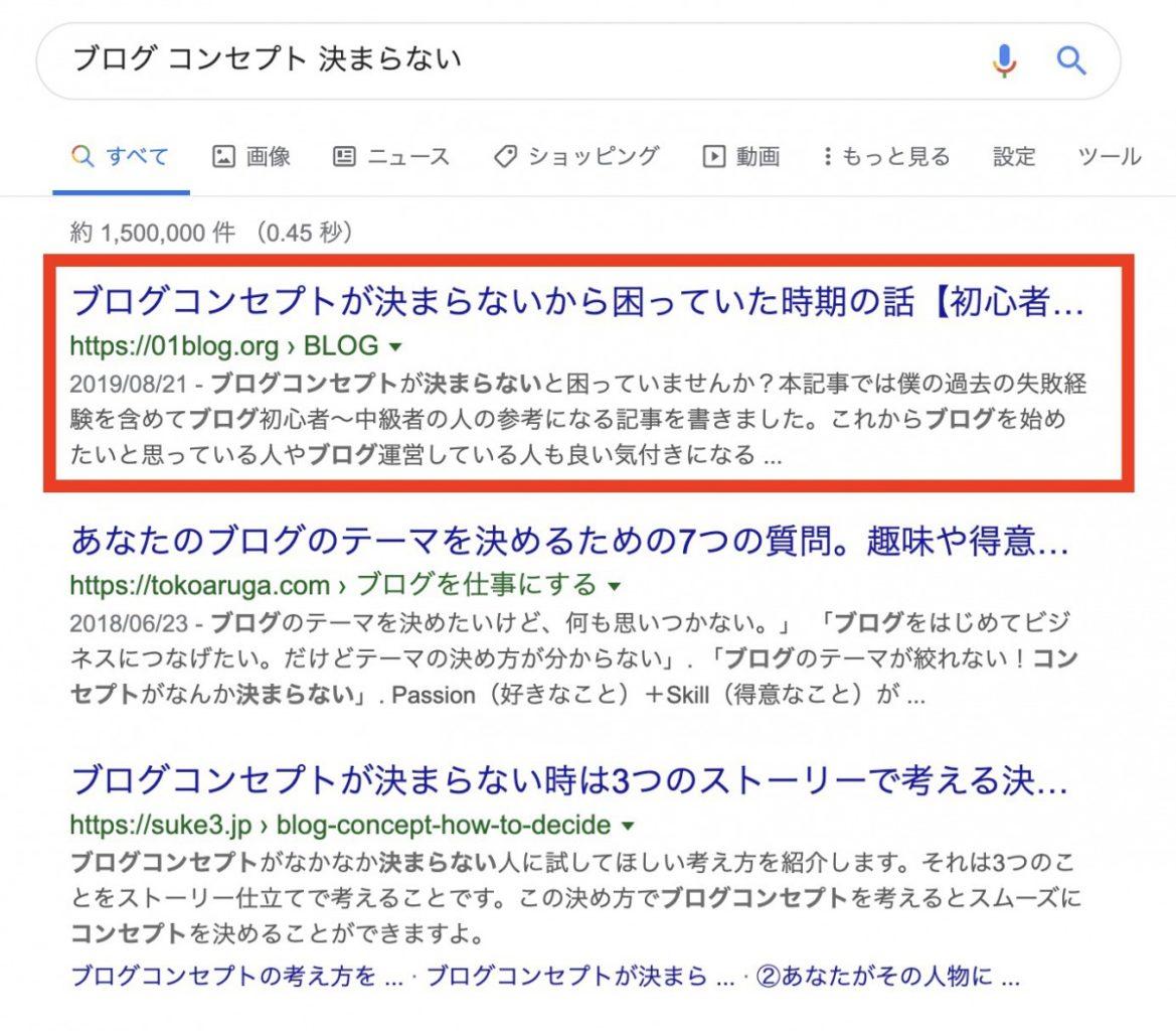 「ブログ コンセプト 決まらない」という検索で、当ブログは1位です。