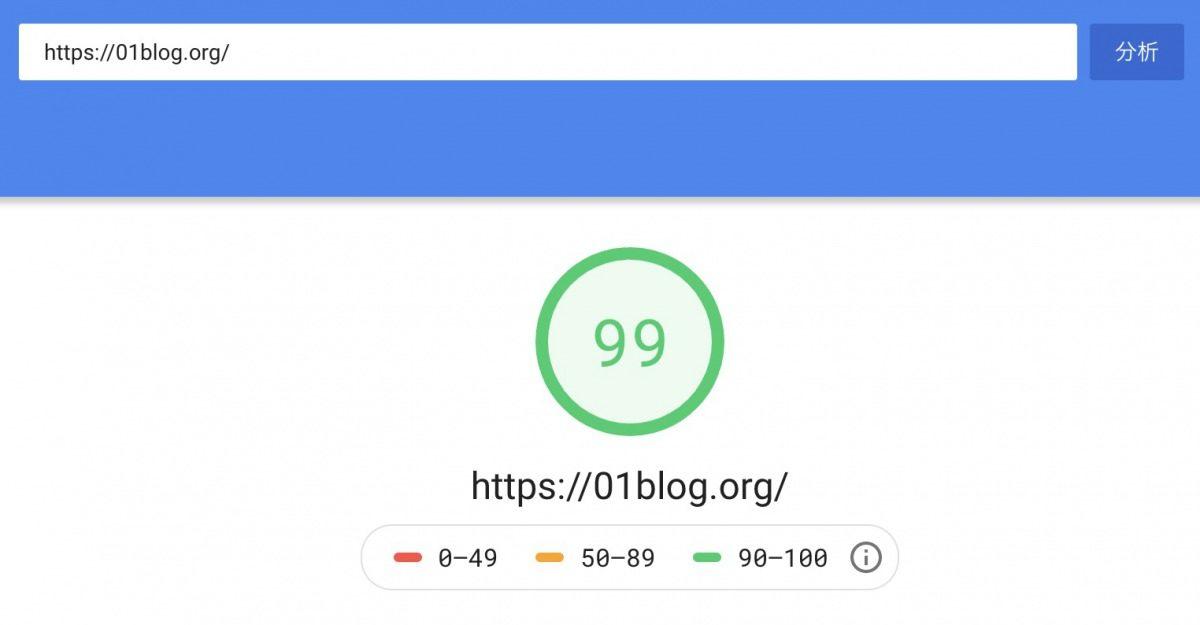 マナブログWordPressテーマの利点1:パフォーマンスチェックで「99点」